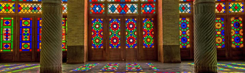 Stained glass windows of Nasīr al-Mulk Mosque in Shiraz, Iran - Photo by Wikipedia